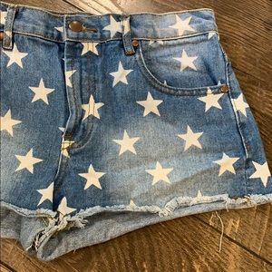High Waist Star Denim Cut Off Shorts